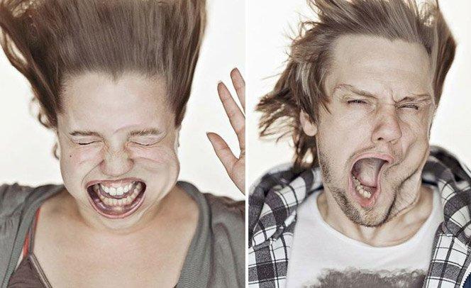 Fotografias engraçadas tiradas em um túnel de vento
