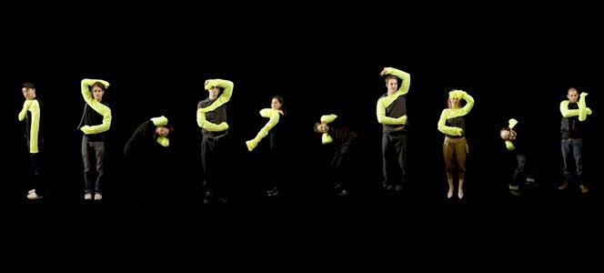 Letras e números com posições do corpo humano