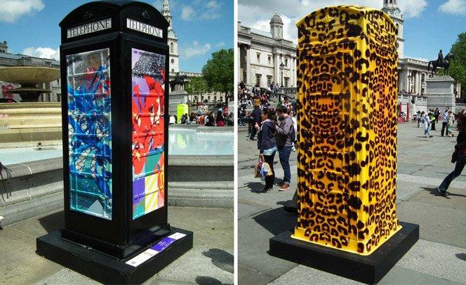 Artistas dão novas caras para as tradicionais cabines de telefone inglesas