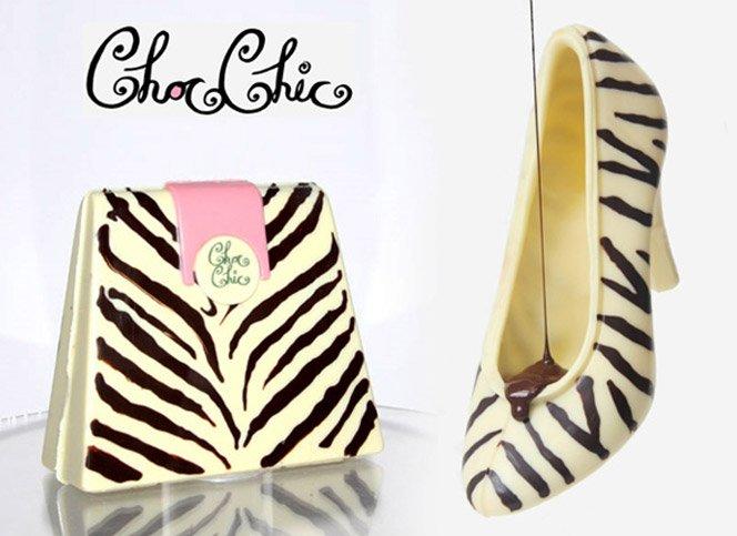 Sapatos e bolsas de chocolate