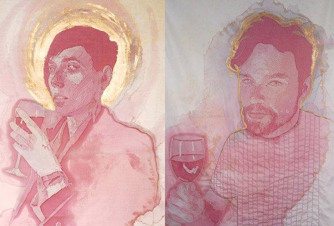 Manchas de vinho colorem belos retratos bordados