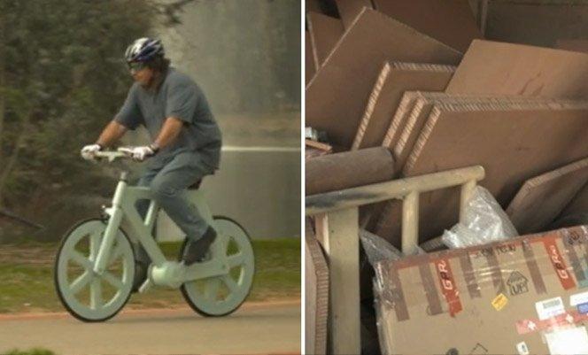 Bicicleta feita de papelão é resistente, bonita e custa 30 reais