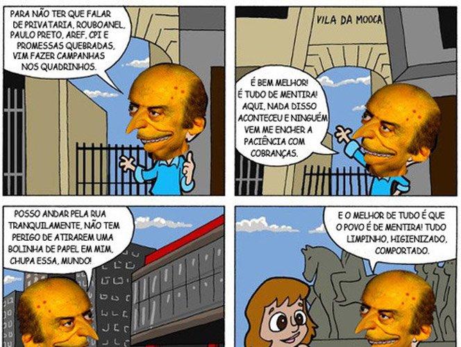 História em quadrinhos do Serra no Facebook vira piada na mão de internautas
