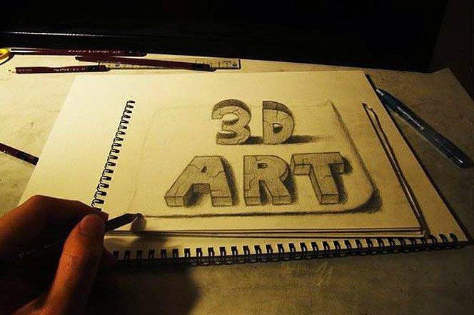 Ilustrações 3D feitas no caderno