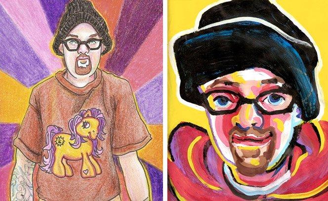 Artista faz série de auto-retratos sob o efeito de diferentes drogas