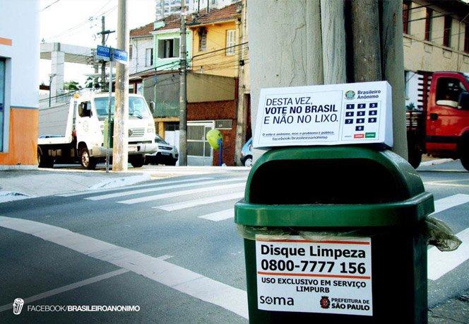 Espalhando urnas eleitorais em lixeiras para não jogarmos nosso voto no lixo