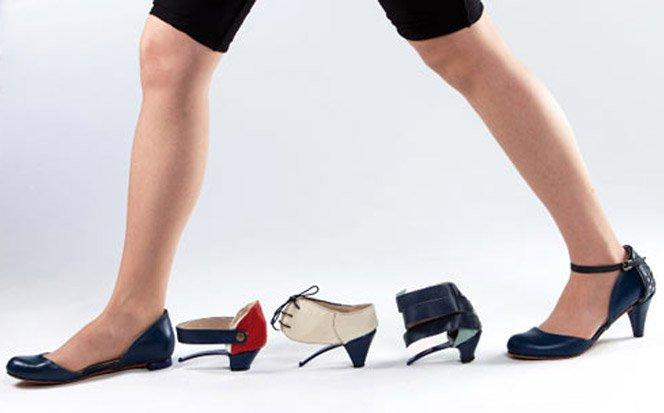 Sapato de salto alto que se transforma em sapatilha
