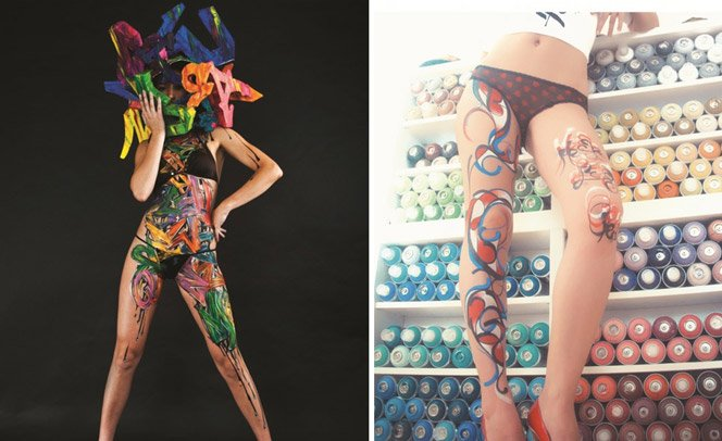Mulheres com tatuagem de graffiti