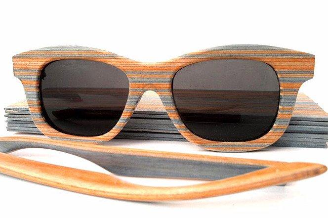 Óculos feito com shapes de skate usados