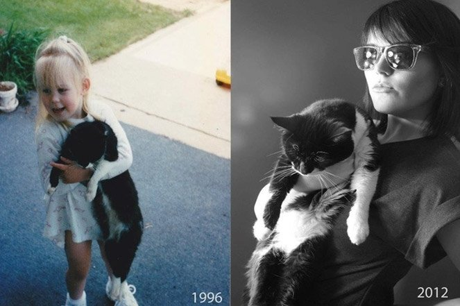 Fotos de pessoas crescendo com seus pets