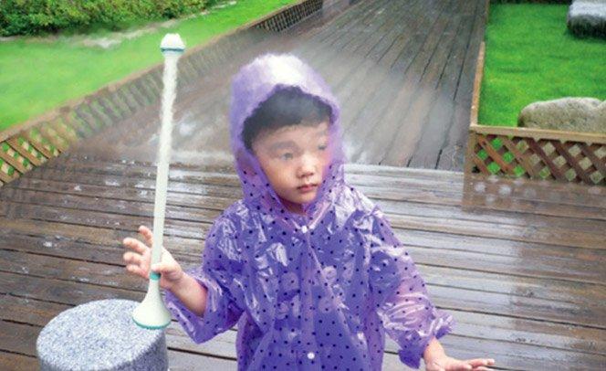 Guarda-chuva invisível repele gotas de chuva com ar