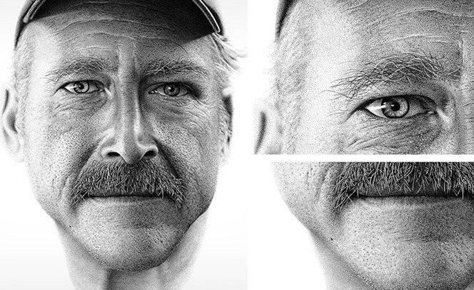 Artista faz retrato com 2 milhões de  pontos para ajudar homem com amnésia