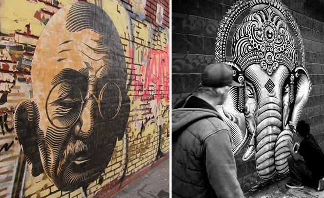 Graffiti inspirado em símbolos da filosofia Oriental