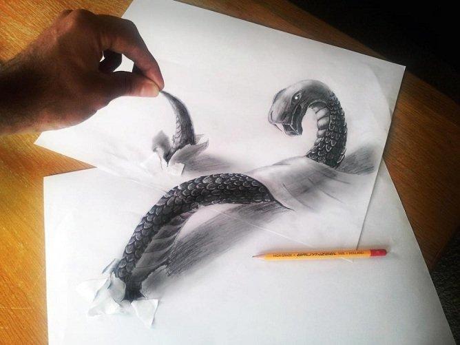 Ilusão de ótica: os desenhos 3D de Ramon Bruin