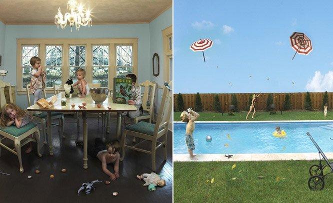 Fotógrafa registra o caos das férias escolares com uma dose de surrealismo