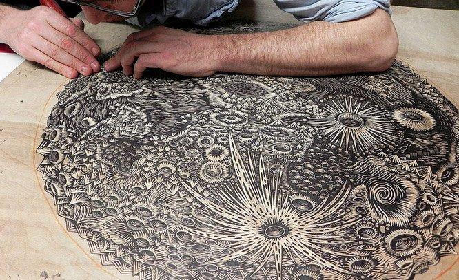 Ilustrações incrivelmente detalhadas feitas com xilogravura