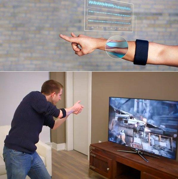 Braçadeira que permite controlar gadgets só com o movimento dos braços