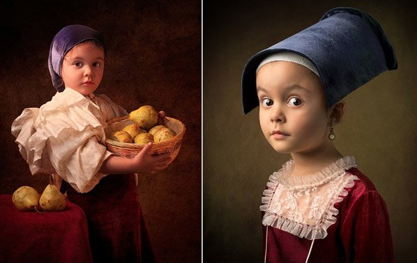Pai fotografa sua filha incorporando personagens de obras de arte famosas