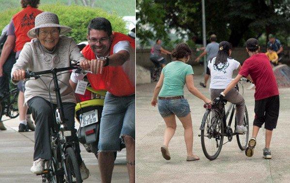Projeto ajuda pessoas de qualquer idade a vencer o medo de pedalar na cidade