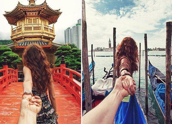 Fotógrafo retrata namorada guiando-o pelas mãos ao redor do mundo