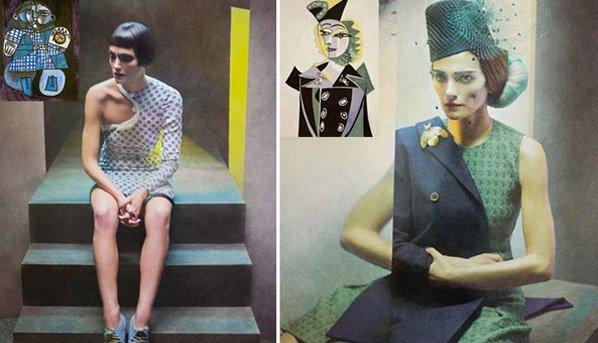 Fotografias de moda inspiradas nas obras de Picasso