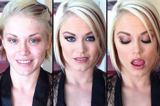 O incrível poder da maquiagem nas atrizes pornô