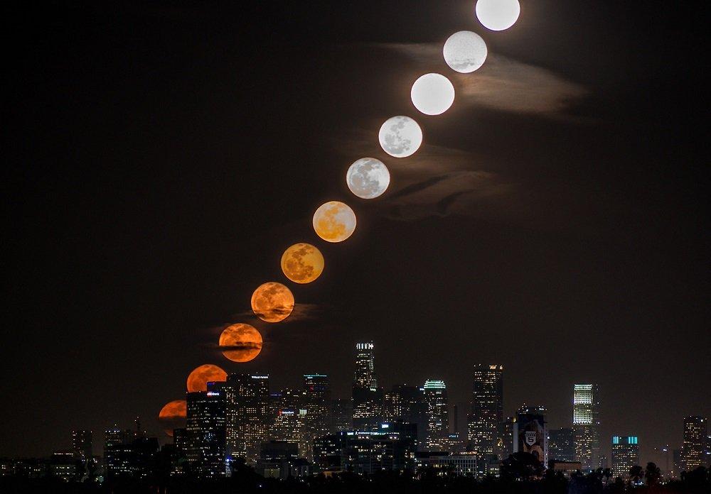 Fotógrafo capta a fantástica ascensão  da lua no céu de Los Angeles