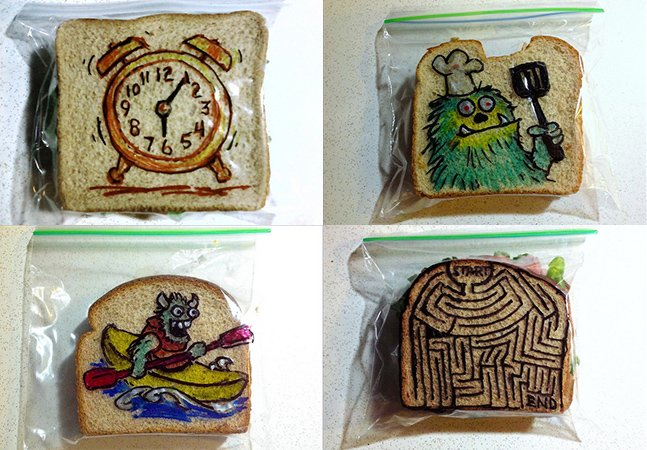 Desde 2008, pai faz 1 ilustração por dia nas embalagens de sanduíches dos filhos