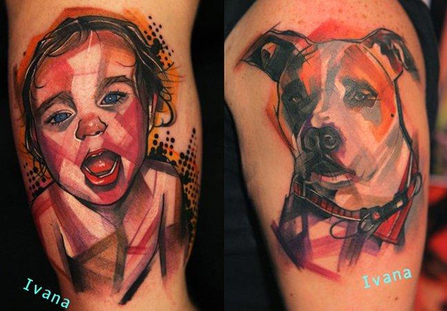 Artista desenha tatuagens que se  parecem quadros de arte moderna
