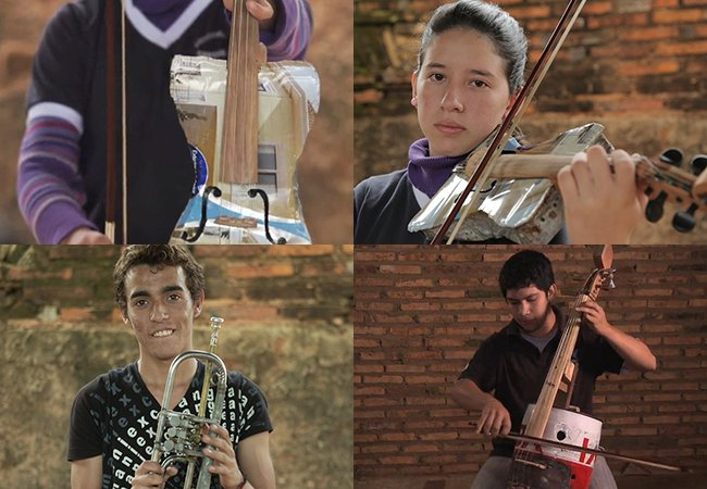 Orquestra jovem no Paraguai toca com instrumentos feitos de lixo