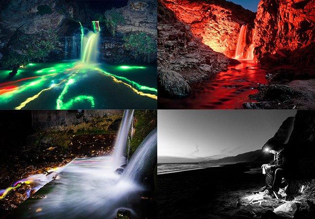 Série fotográfica registra fantásticas cachoeiras coloridas e iluminadas