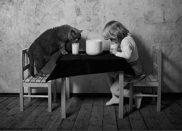 Pai retrata a bonita amizade da filha com  seu gato em série fotográfica