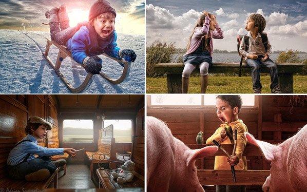Pai captura a essência da infância em série de fotos divertidas com seu filho