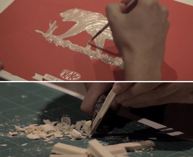 Artista cria ilustrações com Kit Kat derretido