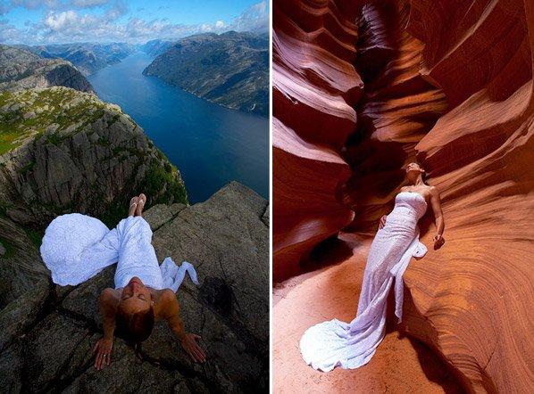 Fotógrafo retrata a esposa vestida de noiva em lugares inusitados pelo mundo