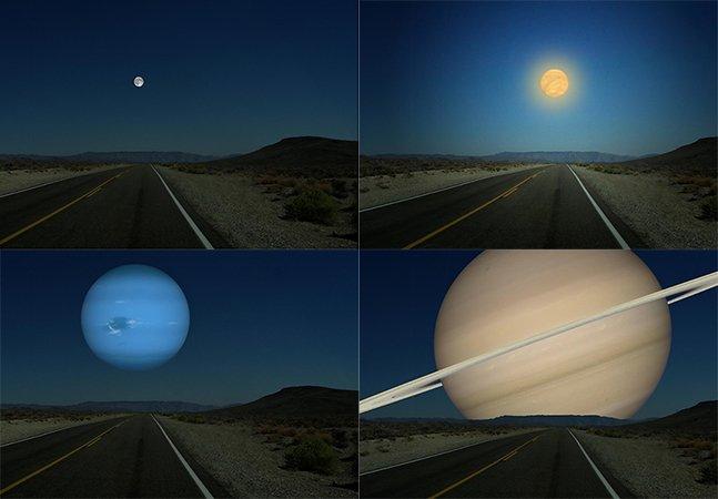 Imagens mostram como seria se os planetas ficassem no lugar da Lua