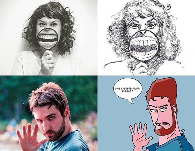 Desenhe a foto de alguém e ganhe uma ilustração sua feita por um estranho