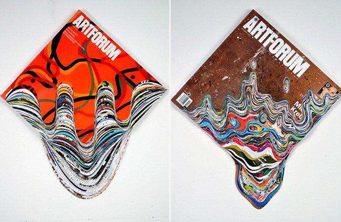 Artista cria esculturas inovadoras recortando revistas de arte