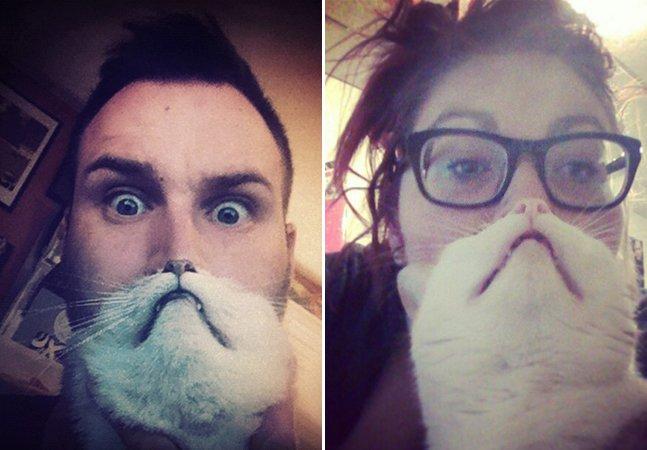Vejas as melhores fotos da nova maniada web: ter uma barba feita com seu pet