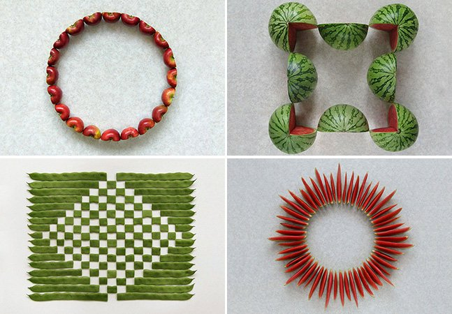 Artista cria impressionantes obras de arte usando frutas e vegetais cortados