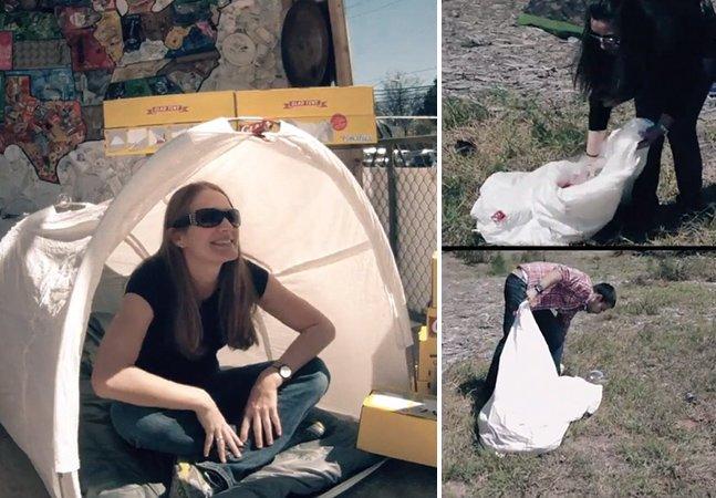 Barraca vira saco de lixo pra diminuir a sujeira deixada após festivais de música