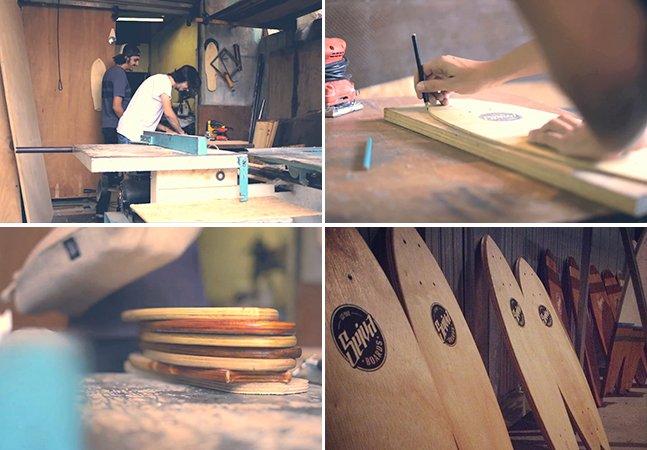 Brasileiros fazem shape de skate artesanalmente