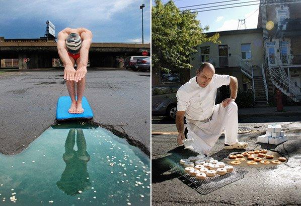 Criativos usam ruas esburacadas para criar arte em forma de protesto