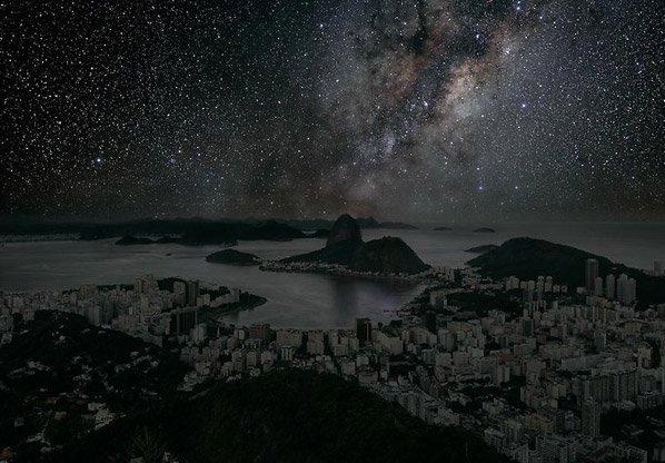 Como seria o céu das grandes cidades sem poluição nem luzes?