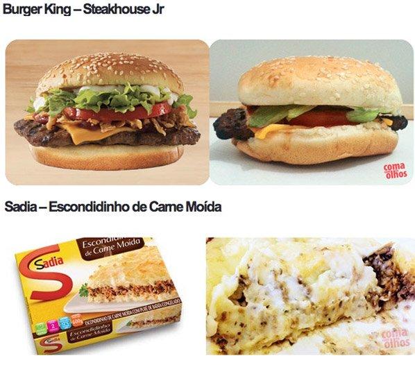 Site brasileiro compara fotos de alimentos produzidas com o produto real