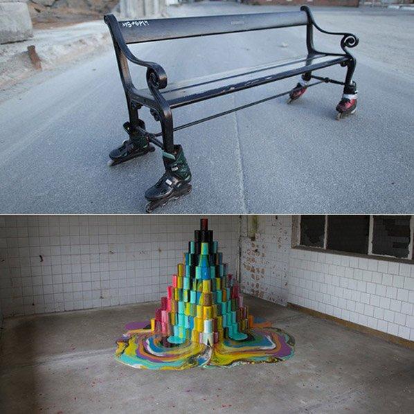 Artista faz esculturas intervindo nas cidades com bom humor