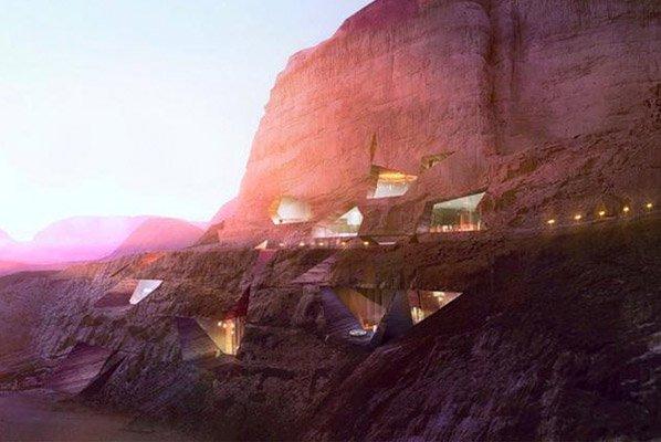 Conheça o fantástico hotel esculpido na encosta de uma montanha no deserto