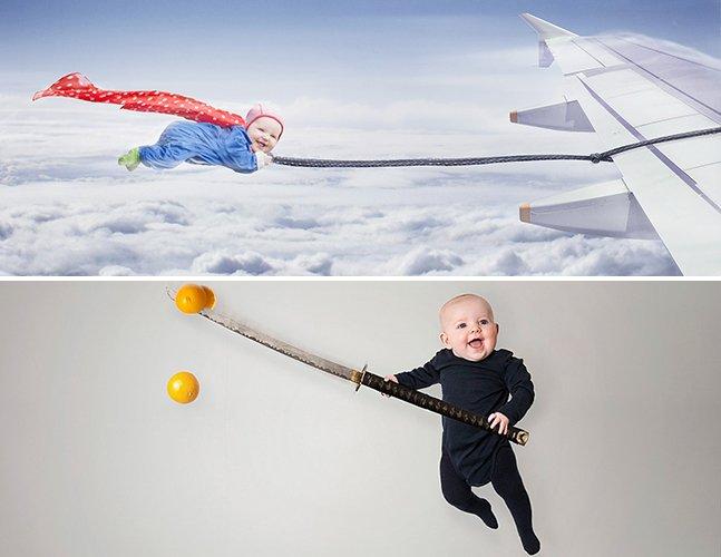 Fotógrafo coloca sua bebê em grandes aventuras com ajuda do Photoshop