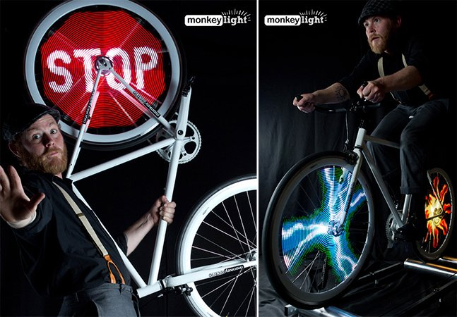 Mostre imagens e animações nas rodas da sua bike