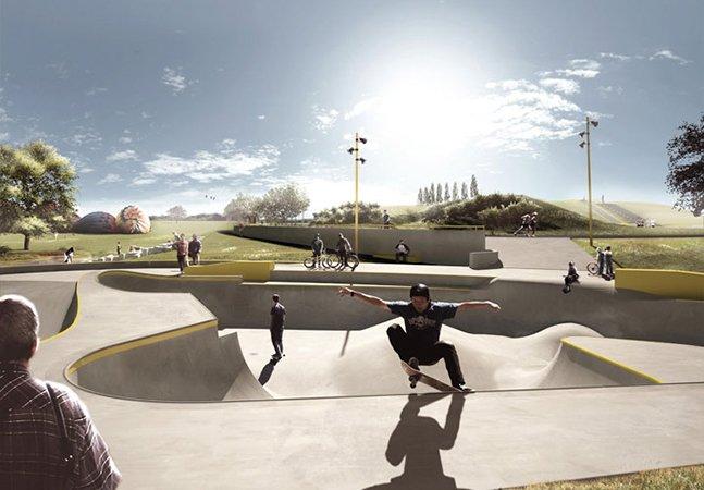 A pista de skate na Dinamarca que evita inundações e armazena água da chuva